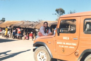 Mwizenge Tembo resting at Chisekesi market returning from Gwembe valley in Aug 1988.
