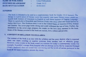 """The Bridge"" Synopsis Content Syllabus by the Curriculum Development Center"