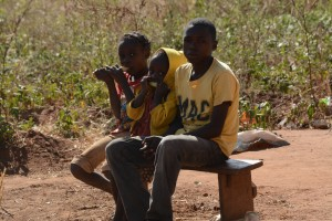 Children eating sugar cane in a village in Lundazi. This might not be possible if the peace is gone.
