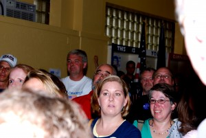 City residents gather in the Harrisonburg Obama campaign office on opening day.