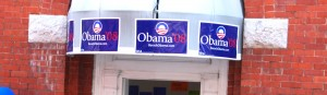 Signs on top of the door into Obama Campaign office in Staunton, Va